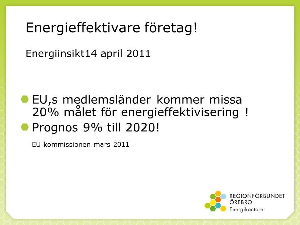 Energieffektivare företag! Energiinsikt14 april 2011 EU,s medlemsländer kommer missa 20% målet för energieffektivisering ! Prognos 9% till 2020! EU ko
