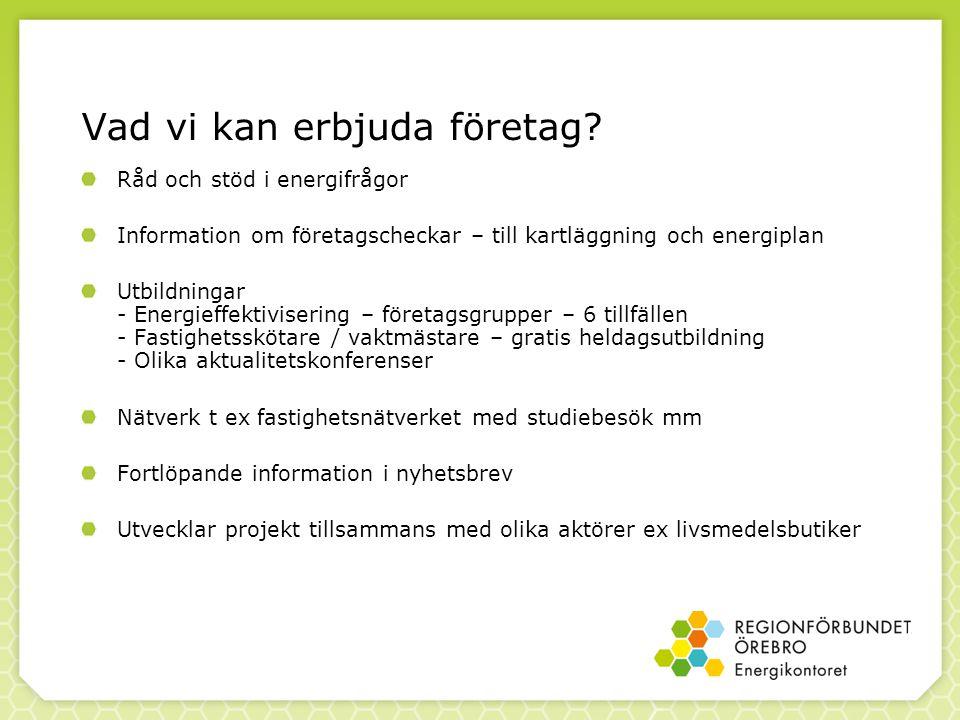 Vad vi kan erbjuda företag? Råd och stöd i energifrågor Information om företagscheckar – till kartläggning och energiplan Utbildningar - Energieffekti