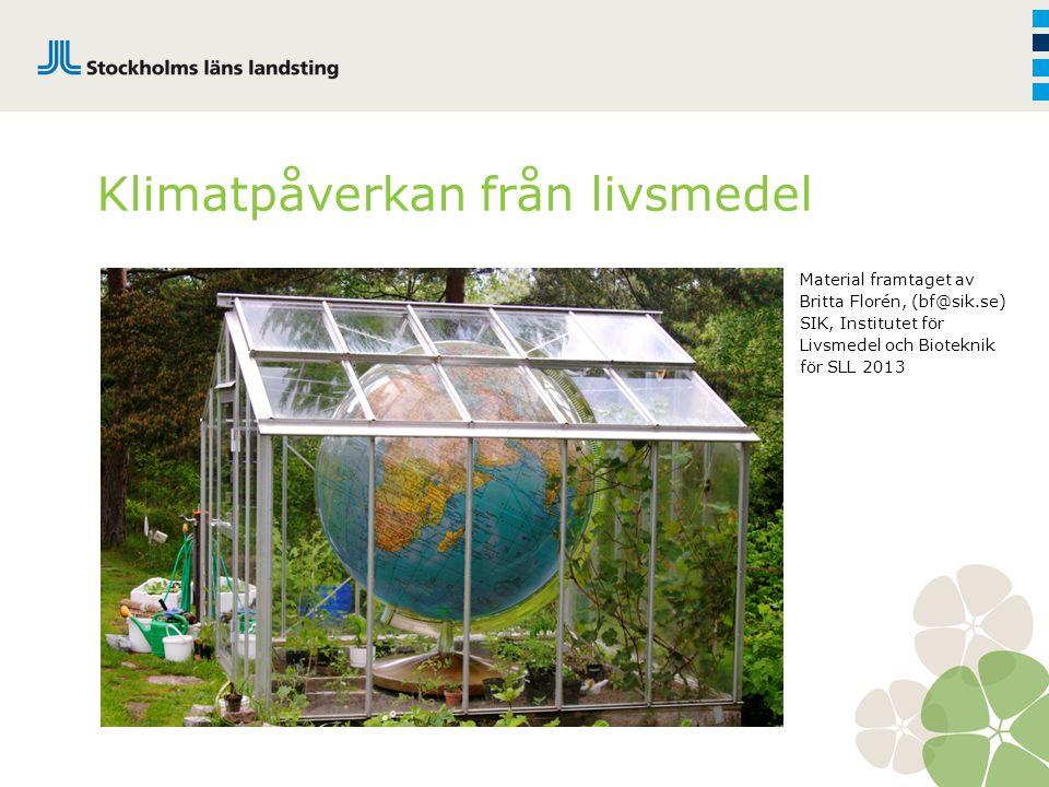 Klimatpåverkan från livsmedel Material framtaget av Britta Florén, (bf@sik.se) SIK, Institutet för Livsmedel och Bioteknik för SLL 2013