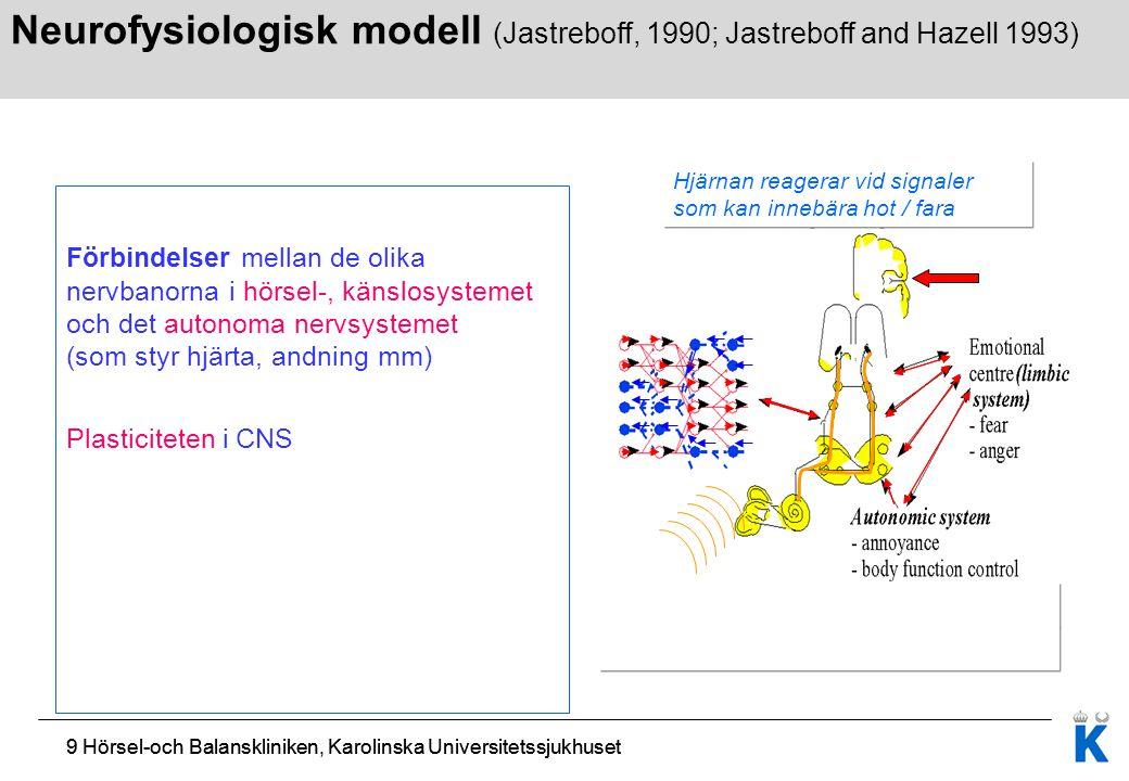 9 Hörsel-och Balanskliniken, Karolinska Universitetssjukhuset Förbindelser mellan de olika nervbanorna i hörsel-, känslosystemet och det autonoma nerv
