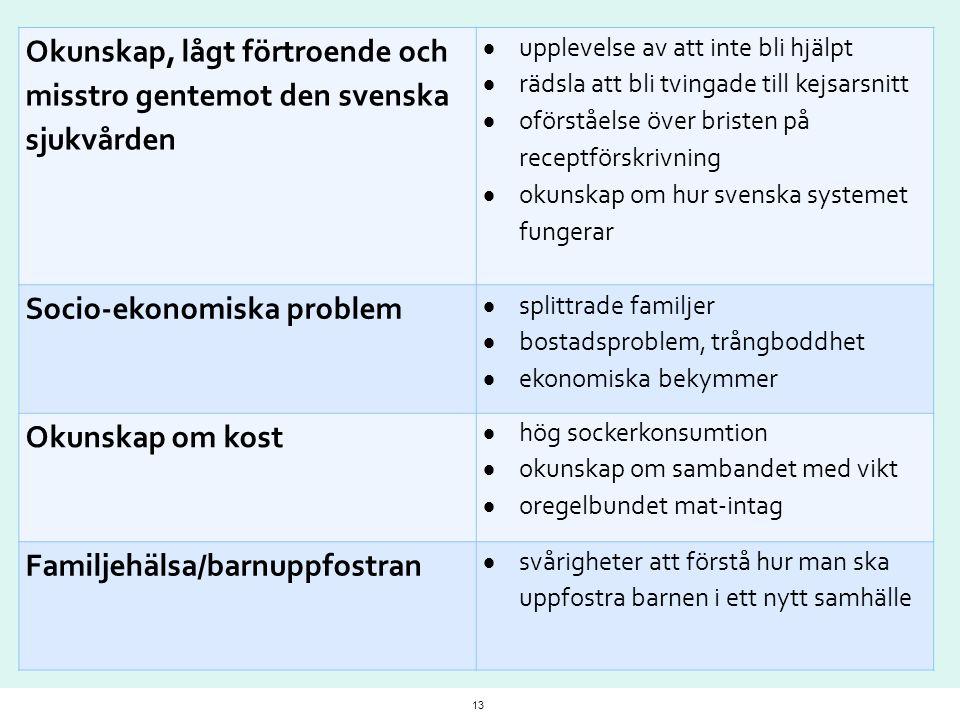 Okunskap, lågt förtroende och misstro gentemot den svenska sjukvården  upplevelse av att inte bli hjälpt  rädsla att bli tvingade till kejsarsnitt 