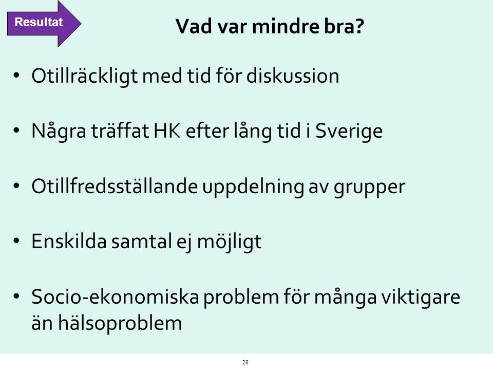 Vad var mindre bra? Otillräckligt med tid för diskussion Några träffat HK efter lång tid i Sverige Otillfredsställande uppdelning av grupper Enskilda