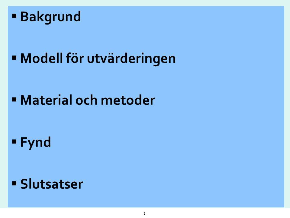  Bakgrund  Modell för utvärderingen  Material och metoder  Fynd  Slutsatser 3
