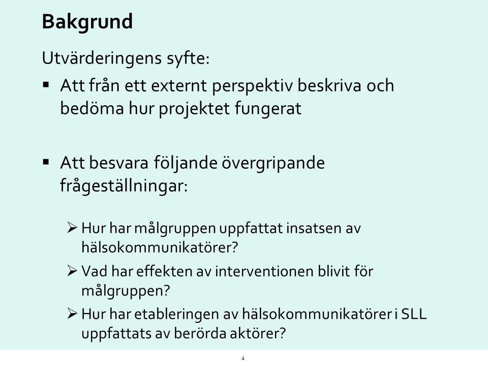 Bakgrund Utvärderingens syfte:  Att från ett externt perspektiv beskriva och bedöma hur projektet fungerat  Att besvara följande övergripande fråges