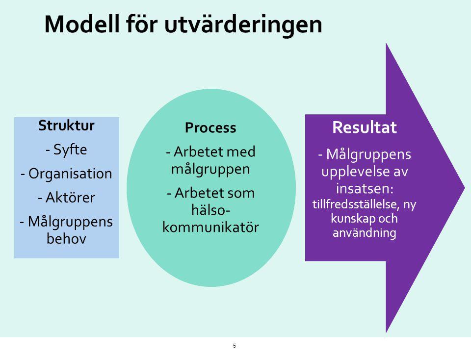 Modell för utvärderingen 5 Struktur - Syfte - Organisation - Aktörer - Målgruppens behov Process - Arbetet med målgruppen - Arbetet som hälso- kommuni