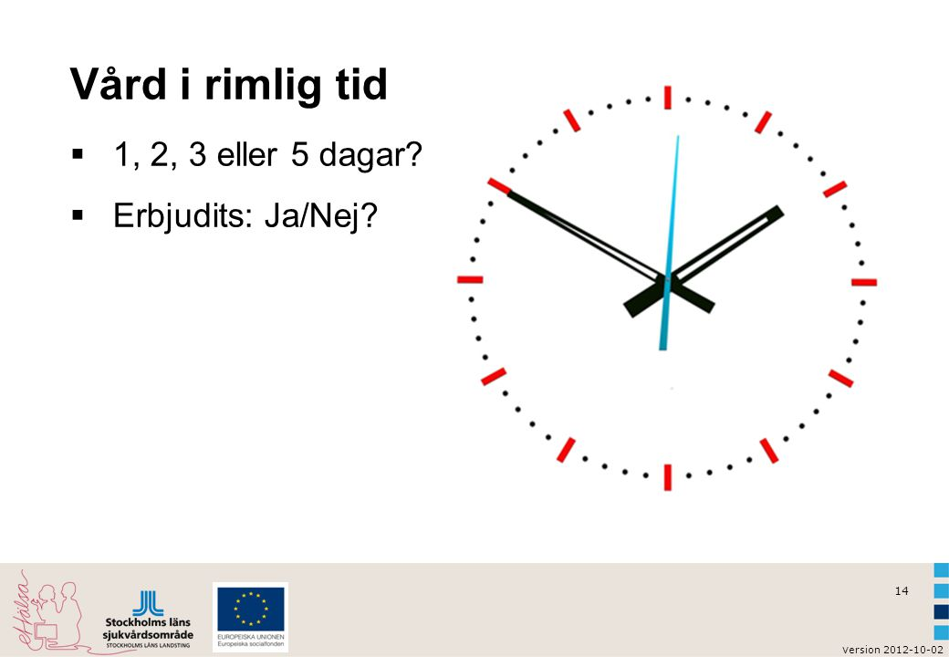 14 v ersion 2012-10-02 Vård i rimlig tid  1, 2, 3 eller 5 dagar?  Erbjudits: Ja/Nej?