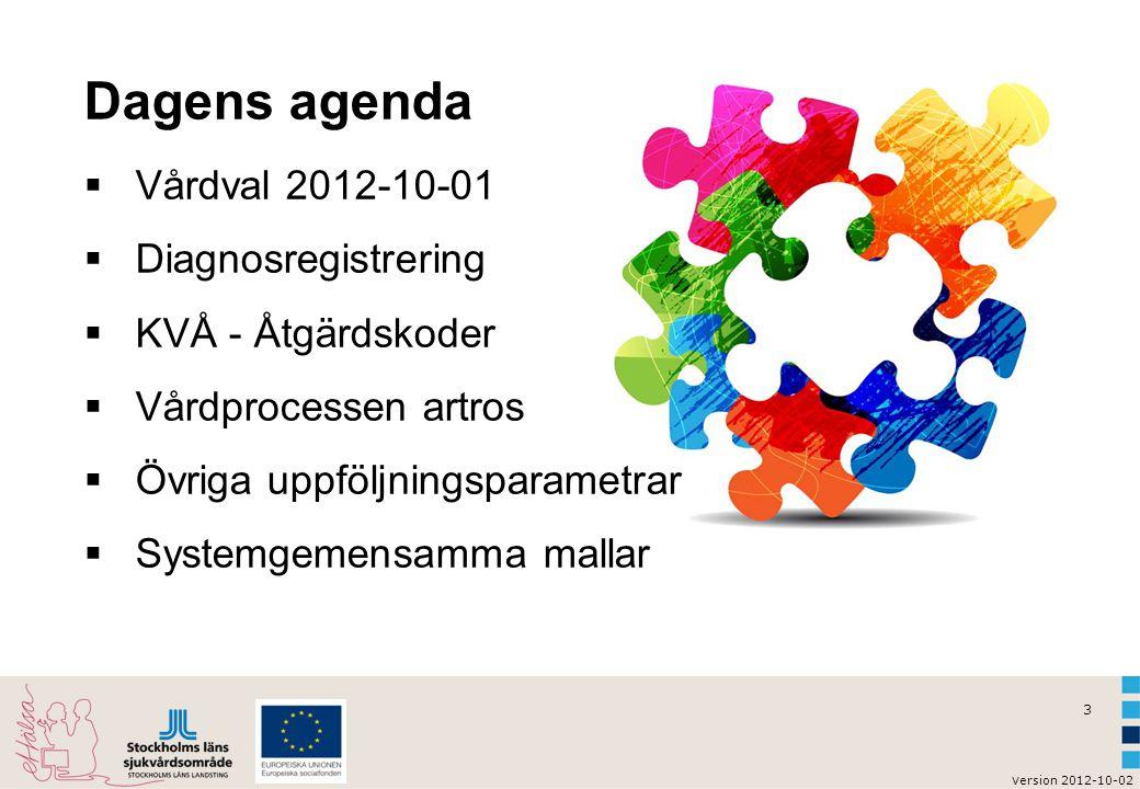 3 v ersion 2012-10-02 Dagens agenda  Vårdval 2012-10-01  Diagnosregistrering  KVÅ - Åtgärdskoder  Vårdprocessen artros  Övriga uppföljningsparame