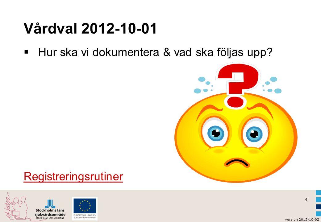 4 v ersion 2012-10-02 Vårdval 2012-10-01  Hur ska vi dokumentera & vad ska följas upp? Registreringsrutiner