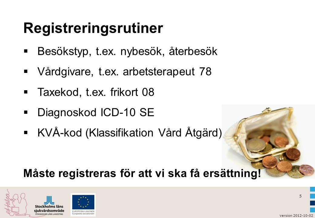 5 v ersion 2012-10-02 Registreringsrutiner  Besökstyp, t.ex. nybesök, återbesök  Vårdgivare, t.ex. arbetsterapeut 78  Taxekod, t.ex. frikort 08  D