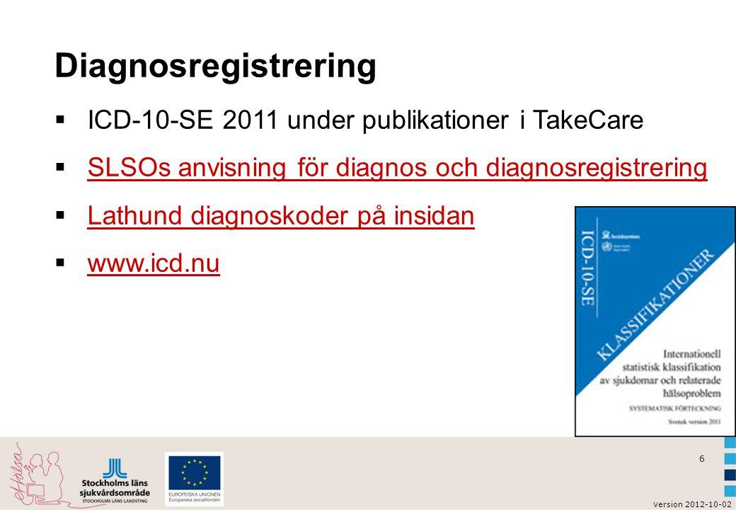 6 v ersion 2012-10-02 Diagnosregistrering  ICD-10-SE 2011 under publikationer i TakeCare  SLSOs anvisning för diagnos och diagnosregistrering SLSOs