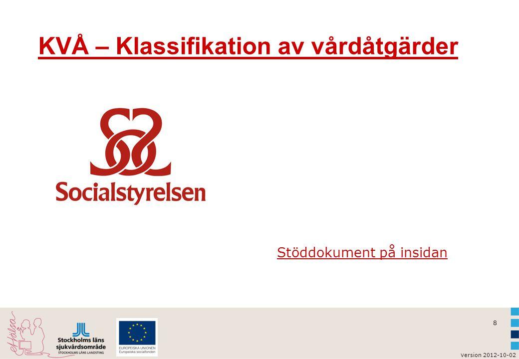 8 KVÅ – Klassifikation av vårdåtgärder Stöddokument på insidan