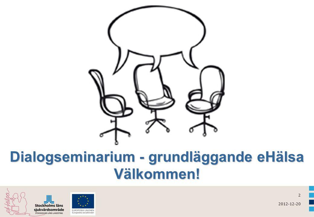 3 2012-12-20 Dagens agenda  eHälsa – vad är det egentligen.