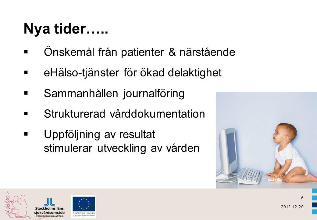 7 2012-12-20 e-användandet i Sverige  9 av 10 hushåll har Internetuppkoppling i hemmet  5 av 10 barn mellan 9 - 12 år har en egen profil på något socialt nätverk (t ex Facebook, Twitter, blogg m fl) = våra framtida vårdtagare/ medarbetare  6 - 7 av 10 personer mellan 65 - 74 år använder Internet dagligen  3 av 10 personer 75 år och äldre använder Internet dagligen  7 av 10 kvinnliga internetanvändare söker efter hälsoinformation på nätet jämfört med 5 – 6 av 10 av männen  Mina vårdkontakter i Stockholms län: 339 107 användarkonton (okt 2012) snitt 13 132 ärenden/månad, 2012 Källa: Internetstatistik.se + Mina vårdkontakter