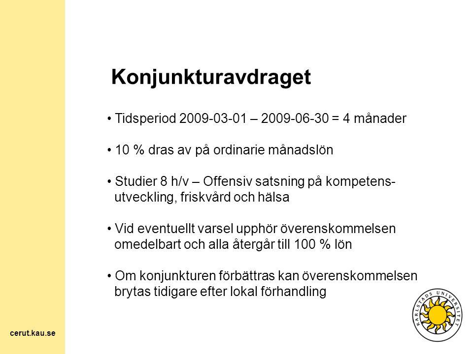 Konjunkturavdraget Tidsperiod 2009-03-01 – 2009-06-30 = 4 månader 10 % dras av på ordinarie månadslön Studier 8 h/v – Offensiv satsning på kompetens-
