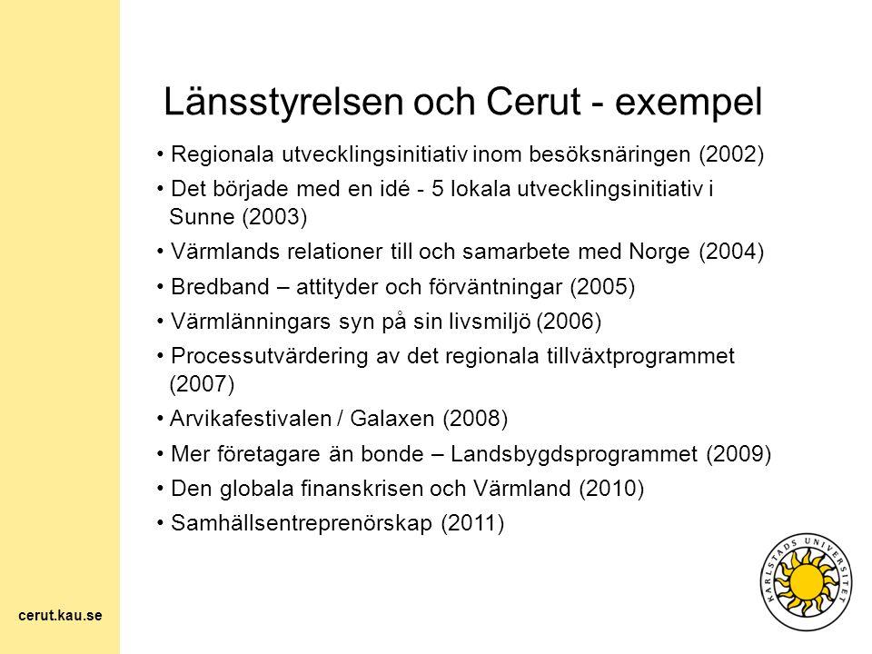 Länsstyrelsen och Cerut - exempel Regionala utvecklingsinitiativ inom besöksnäringen (2002) Det började med en idé - 5 lokala utvecklingsinitiativ i S