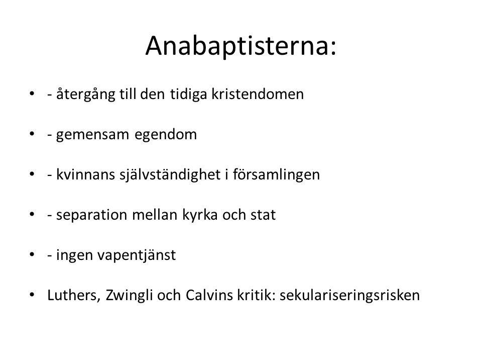 Anabaptisterna: - återgång till den tidiga kristendomen - gemensam egendom - kvinnans självständighet i församlingen - separation mellan kyrka och stat - ingen vapentjänst Luthers, Zwingli och Calvins kritik: sekulariseringsrisken