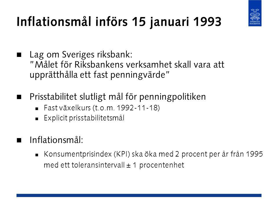 Inflationsmål införs 15 januari 1993 Lag om Sveriges riksbank: Målet för Riksbankens verksamhet skall vara att upprätthålla ett fast penningvärde Prisstabilitet slutligt mål för penningpolitiken Fast växelkurs (t.o.m.