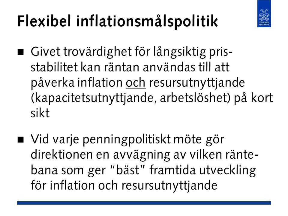 Flexibel inflationsmålspolitik Givet trovärdighet för långsiktig pris- stabilitet kan räntan användas till att påverka inflation och resursutnyttjande (kapacitetsutnyttjande, arbetslöshet) på kort sikt Vid varje penningpolitiskt möte gör direktionen en avvägning av vilken ränte- bana som ger bäst framtida utveckling för inflation och resursutnyttjande