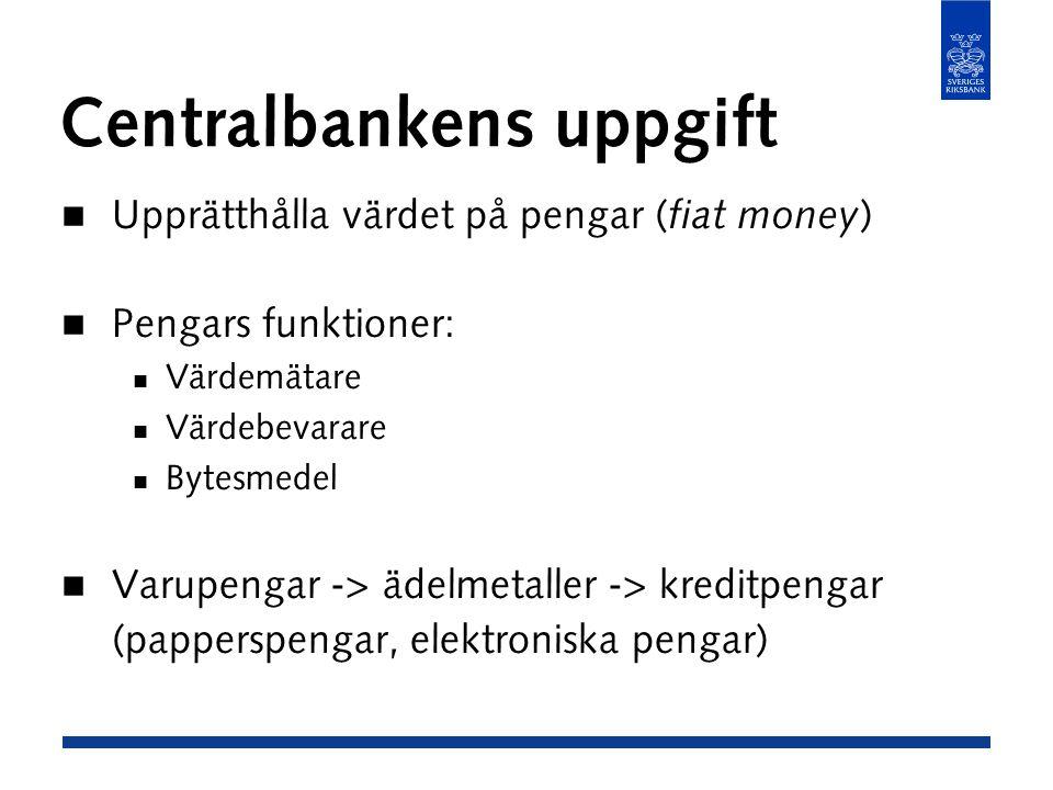Centralbankens uppgift Upprätthålla värdet på pengar ( fiat money ) Pengars funktioner: Värdemätare Värdebevarare Bytesmedel Varupengar -> ädelmetaller -> kreditpengar (papperspengar, elektroniska pengar)