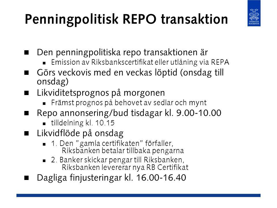 Penningpolitisk REPO transaktion Den penningpolitiska repo transaktionen är Emission av Riksbankscertifikat eller utlåning via REPA Görs veckovis med en veckas löptid (onsdag till onsdag) Likviditetsprognos på morgonen Främst prognos på behovet av sedlar och mynt Repo annonsering/bud tisdagar kl.