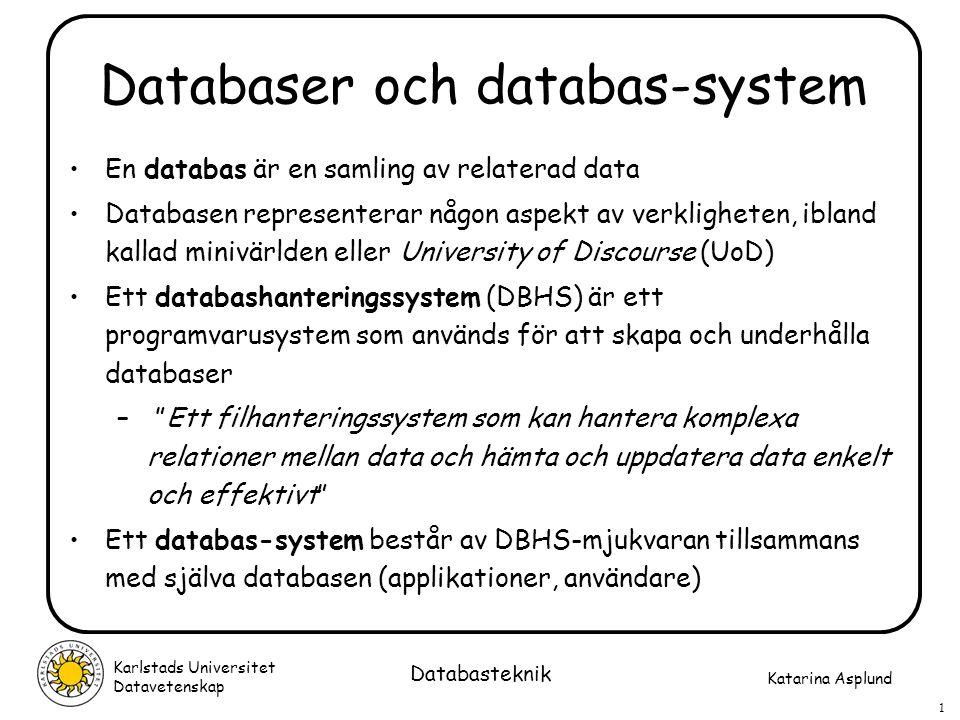 Katarina Asplund Karlstads Universitet Datavetenskap 2 Databasteknik Egenskaper hos databas-system Data i en databas är integrerad och delad I DBHS lagras en beskrivning av databasen (struktur, integritetsregler mm) Erbjuder ett visst mått av dataoberoende En datamodell används för att gömma implementationsdetaljer och i stället ge användarna en konceptuell vy av databasen Stödjer många olika vyer av databasen