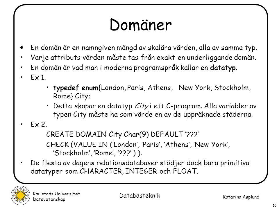 Katarina Asplund Karlstads Universitet Datavetenskap 16 Databasteknik Domäner  En domän är en namngiven mängd av skalära värden, alla av samma typ. V