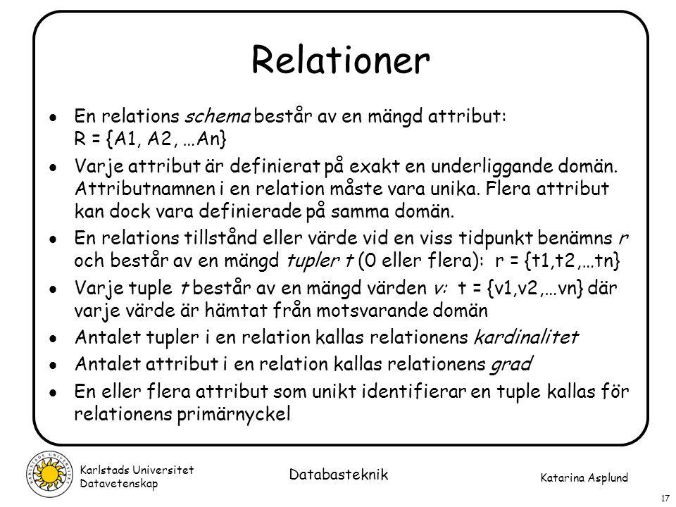 Katarina Asplund Karlstads Universitet Datavetenskap 17 Databasteknik Relationer  En relations schema består av en mängd attribut: R = {A1, A2, …An}