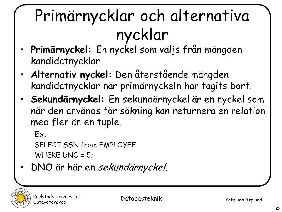 Katarina Asplund Karlstads Universitet Datavetenskap 26 Databasteknik Primärnycklar och alternativa nycklar Primärnyckel: En nyckel som väljs från män