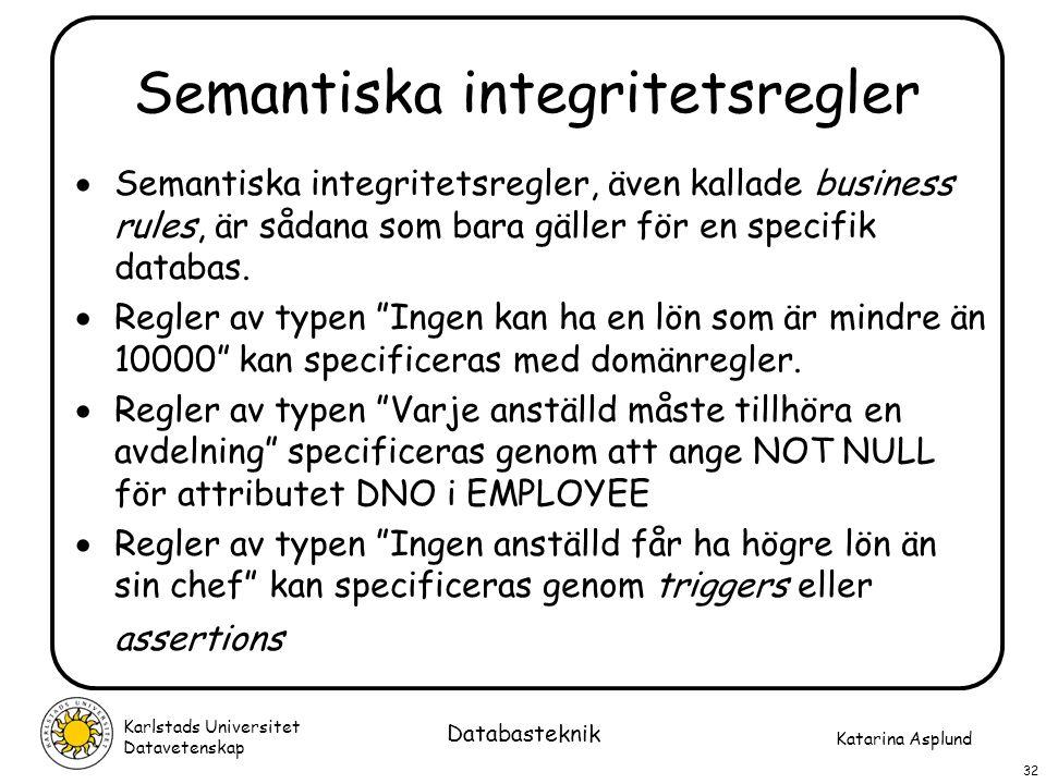 Katarina Asplund Karlstads Universitet Datavetenskap 32 Databasteknik Semantiska integritetsregler  Semantiska integritetsregler, även kallade busine