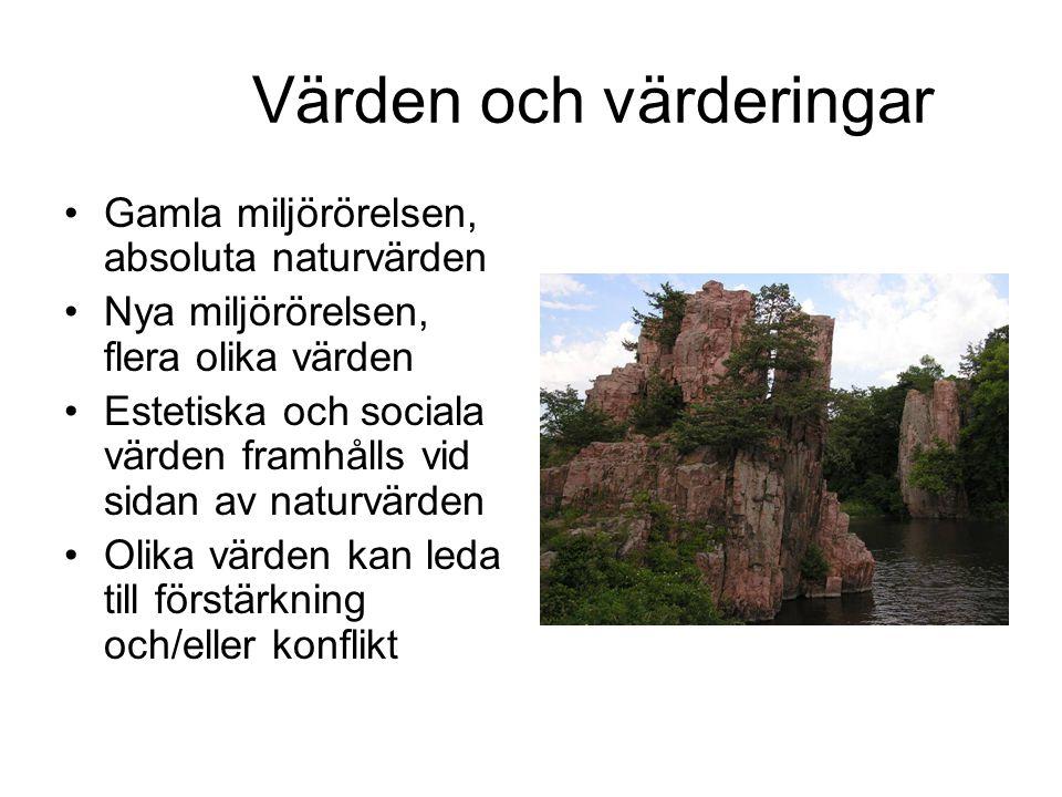 Värden och värderingar Gamla miljörörelsen, absoluta naturvärden Nya miljörörelsen, flera olika värden Estetiska och sociala värden framhålls vid sidan av naturvärden Olika värden kan leda till förstärkning och/eller konflikt