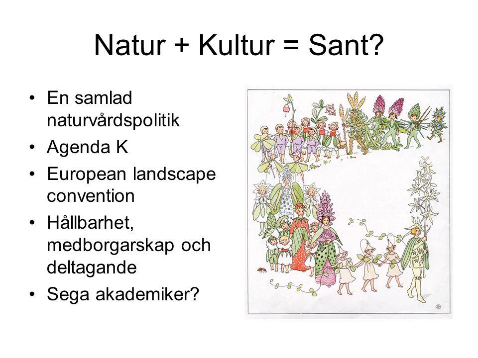 Natur + Kultur = Sant? En samlad naturvårdspolitik Agenda K European landscape convention Hållbarhet, medborgarskap och deltagande Sega akademiker?