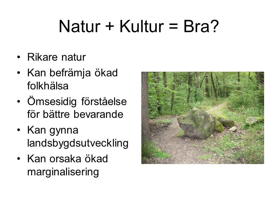 Natur + Kultur = Bra? Rikare natur Kan befrämja ökad folkhälsa Ömsesidig förståelse för bättre bevarande Kan gynna landsbygdsutveckling Kan orsaka öka