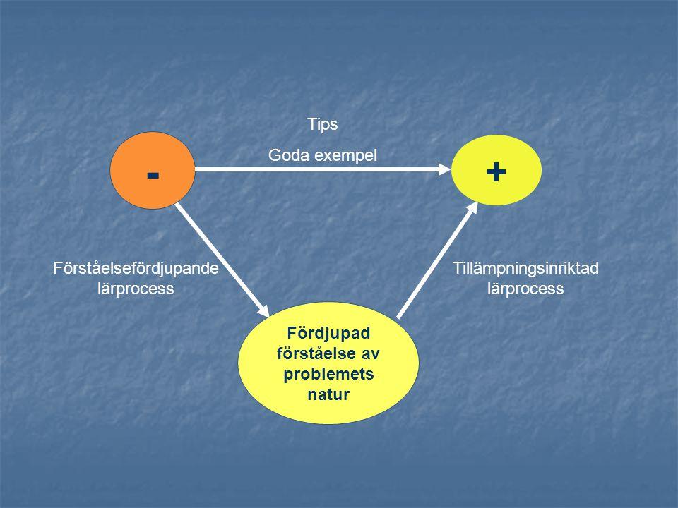 Fördjupad förståelse av problemets natur Tips Goda exempel Förståelsefördjupande lärprocess Tillämpningsinriktad lärprocess - +