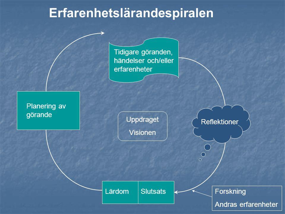 Tidigare göranden, händelser och/eller erfarenheter Reflektioner Uppdraget Visionen SlutsatsLärdom Planering av görande Forskning Andras erfarenheter