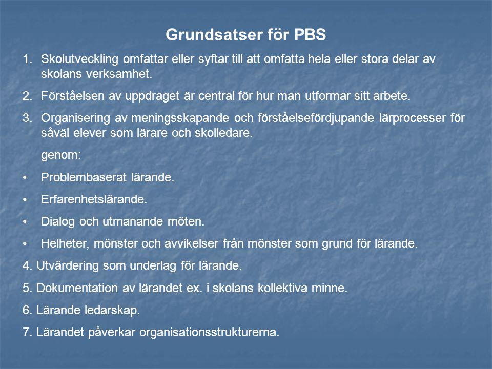 Grundsatser för PBS 1.Skolutveckling omfattar eller syftar till att omfatta hela eller stora delar av skolans verksamhet. 2.Förståelsen av uppdraget ä
