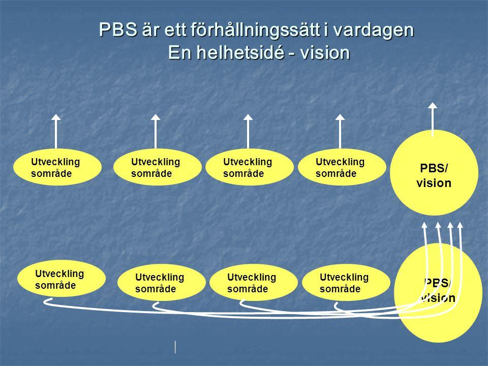 PBS är ett förhållningssätt i vardagen En helhetsidé - vision Utveckling sområde PBS/ vision Utveckling sområde PBS/ vision Utveckling sområde