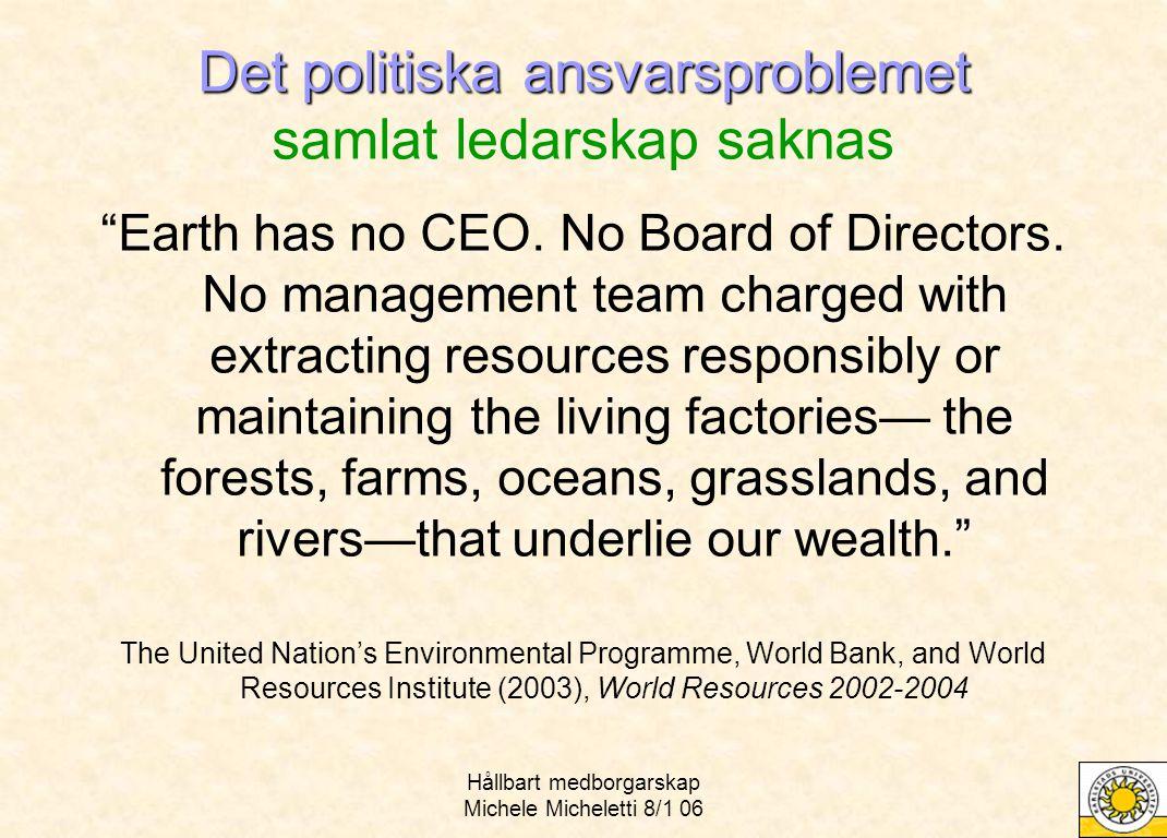 Hållbart medborgarskap Michele Micheletti 8/1 06 Det politiska ansvarsproblemet Det politiska ansvarsproblemet samlat ledarskap saknas Earth has no CEO.