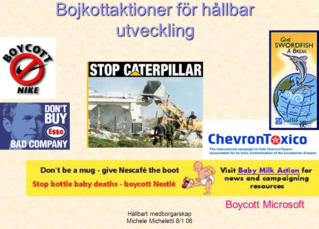 Hållbart medborgarskap Michele Micheletti 8/1 06 Bojkottaktioner för hållbar utveckling Boycott Microsoft