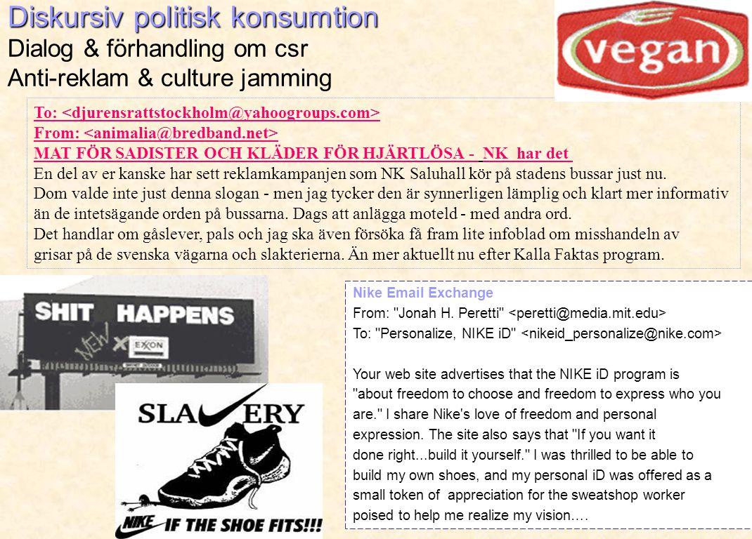 Diskursiv politisk konsumtion Diskursiv politisk konsumtion Dialog & förhandling om csr Anti-reklam & culture jamming Nike Email Exchange From: Jonah H.