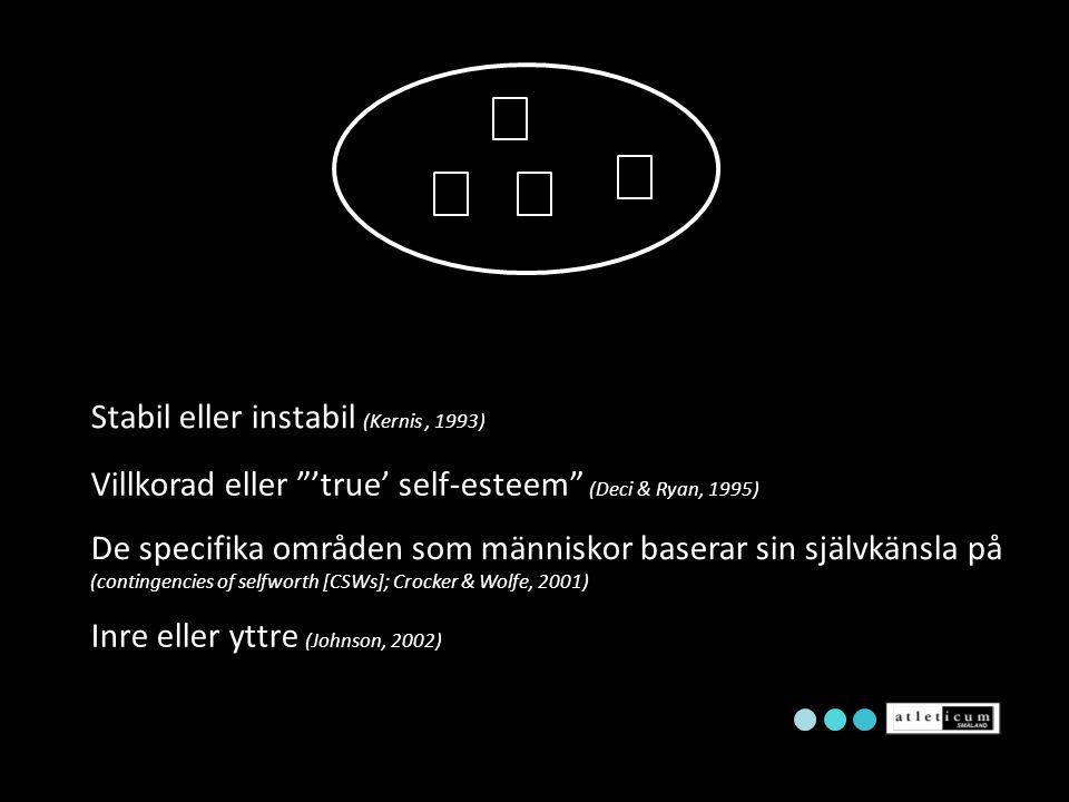 """Villkorad eller """"'true' self-esteem"""" (Deci & Ryan, 1995) Stabil eller instabil (Kernis, 1993) De specifika områden som människor baserar sin självkäns"""