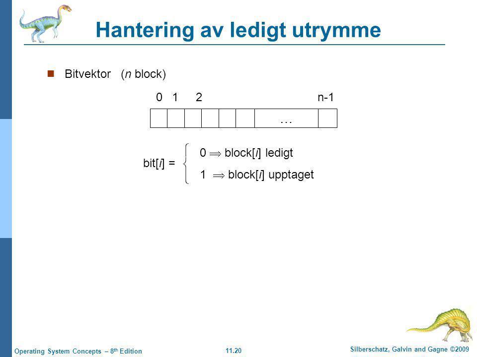 11.20 Silberschatz, Galvin and Gagne ©2009 Operating System Concepts – 8 th Edition Hantering av ledigt utrymme Bitvektor (n block) … 012n-1 bit[i] =  0  block[i] ledigt 1  block[i] upptaget