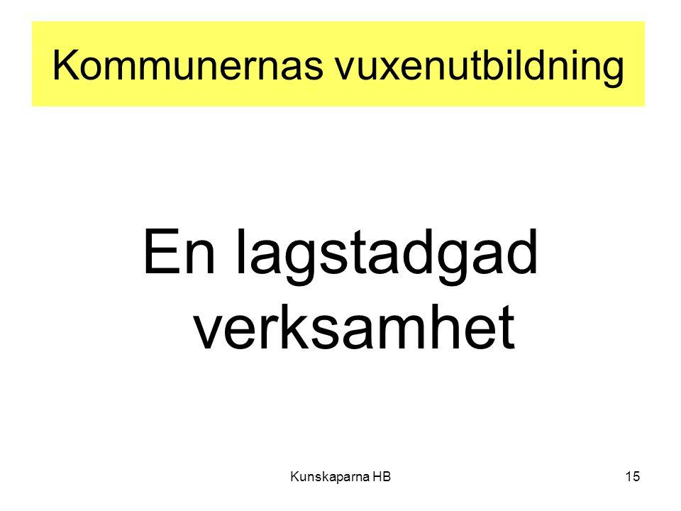 Kommunernas vuxenutbildning En lagstadgad verksamhet Kunskaparna HB15