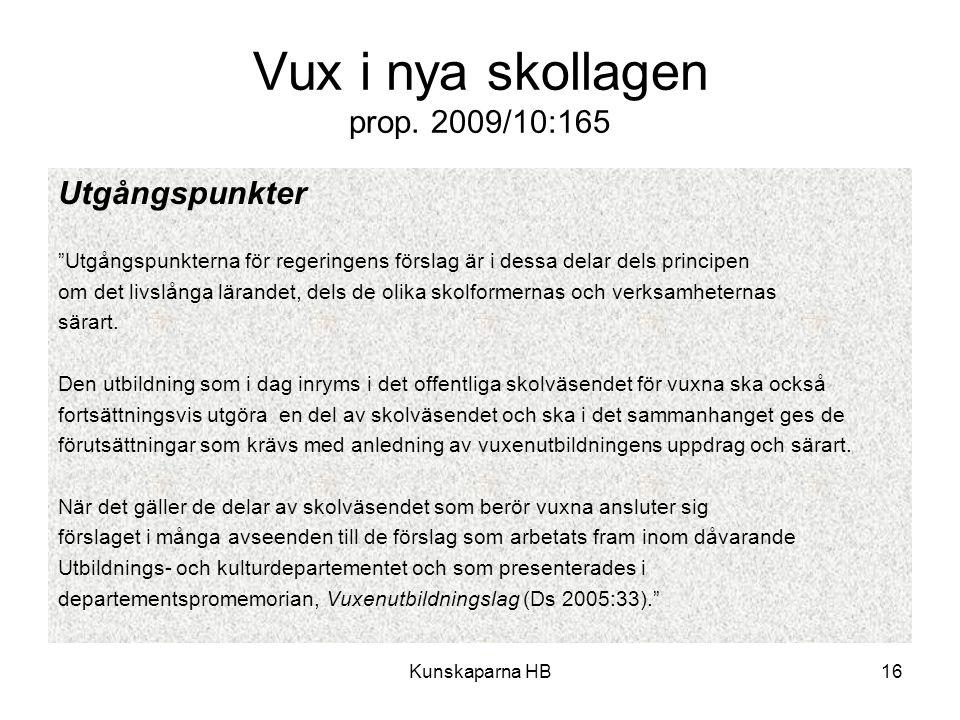 """Kunskaparna HB16 Vux i nya skollagen prop. 2009/10:165 Utgångspunkter """"Utgångspunkterna för regeringens förslag är i dessa delar dels principen om det"""