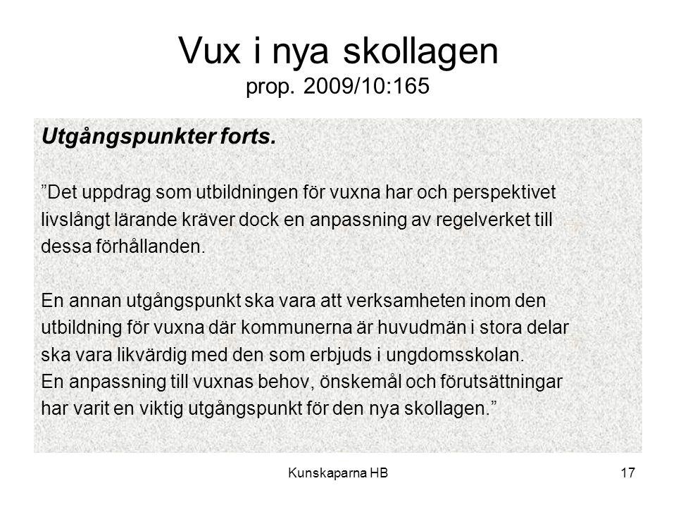 """Kunskaparna HB17 Vux i nya skollagen prop. 2009/10:165 Utgångspunkter forts. """"Det uppdrag som utbildningen för vuxna har och perspektivet livslångt lä"""
