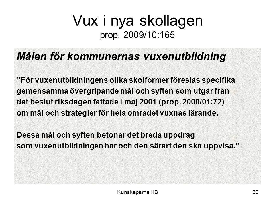 """Kunskaparna HB20 Vux i nya skollagen prop. 2009/10:165 Målen för kommunernas vuxenutbildning """"För vuxenutbildningens olika skolformer föreslås specifi"""