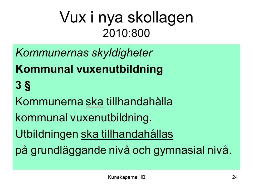 Vux i nya skollagen 2010:800 Kommunernas skyldigheter Kommunal vuxenutbildning 3 § Kommunerna ska tillhandahålla kommunal vuxenutbildning. Utbildninge