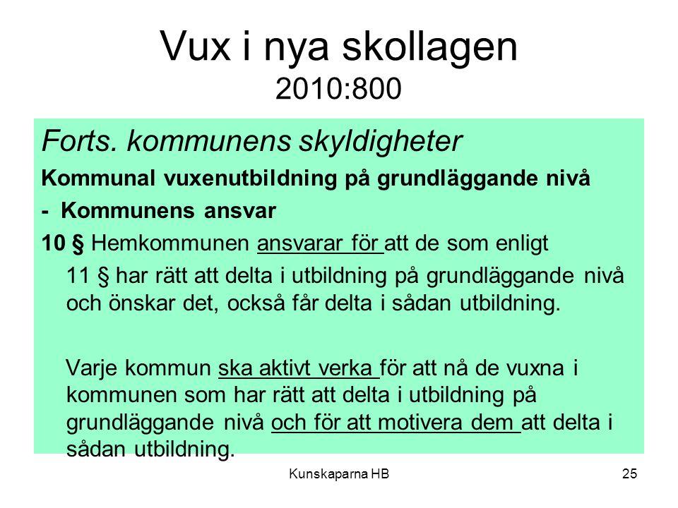 Vux i nya skollagen 2010:800 Forts.