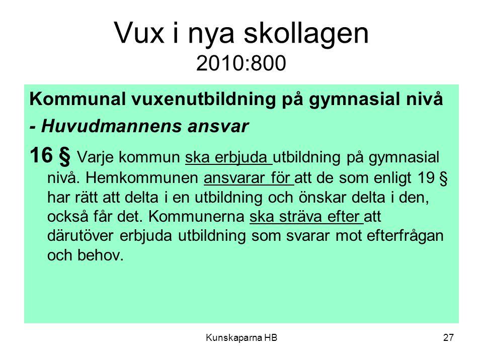 Vux i nya skollagen 2010:800 Kommunal vuxenutbildning på gymnasial nivå - Huvudmannens ansvar 16 § Varje kommun ska erbjuda utbildning på gymnasial nivå.