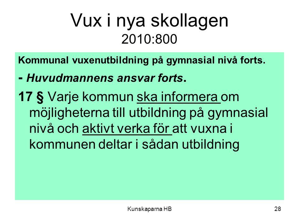 Vux i nya skollagen 2010:800 Kommunal vuxenutbildning på gymnasial nivå forts.