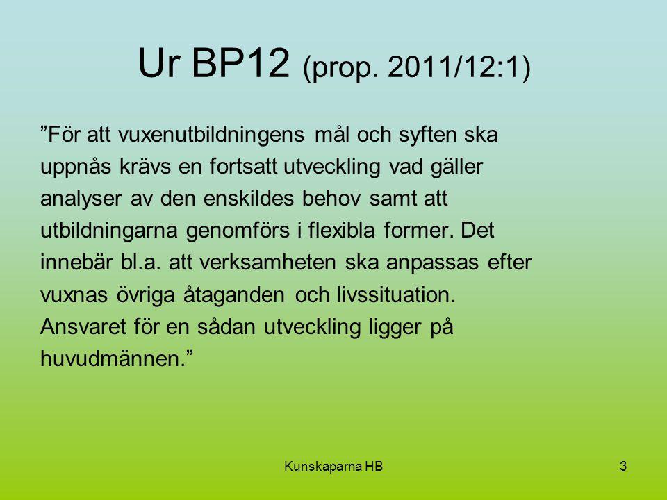 """Kunskaparna HB3 Ur BP12 (prop. 2011/12:1) """"För att vuxenutbildningens mål och syften ska uppnås krävs en fortsatt utveckling vad gäller analyser av de"""
